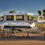 Jayco Swan Outback Pop-Top Camper Trailer for Hire set up at Cape Range National Park, Ningaloo Reef, Western Australia