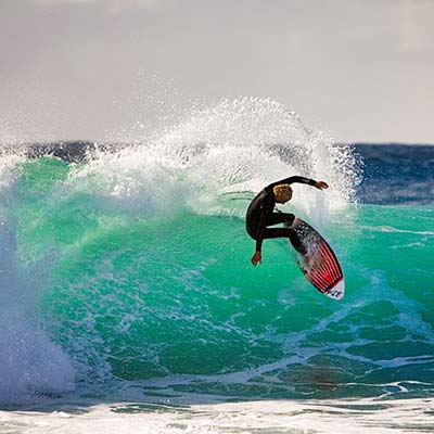 Surfing at Hunters Beach Exmouth, Ningaloo Reef